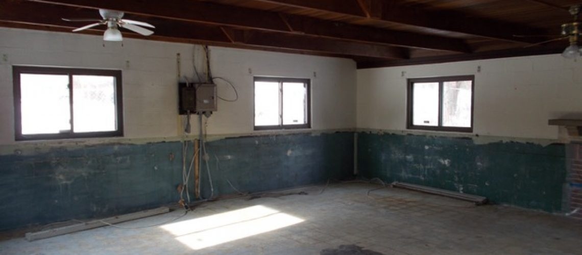 Before... clean slate... no insulation, flooring, etc.